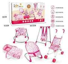 Baby Pretend Play Set 5 PCs Cot Bouncer Walker Swing Baby Stroller UK Stock