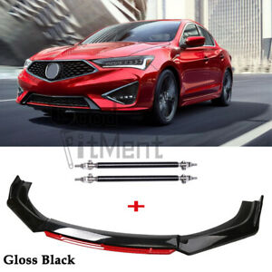 For Acura ILX 2013-2021 Black&Red Front Bumper Lip Splitter Spoiler + Strut Rods