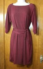Motherhood Maternity maroon black dot stretchy 3/4 sleeve dress M boatneck NEW