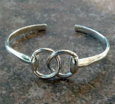Classy Solid Argentium Sterling Silver Equine Horse Snaffle Bit Cuff Bracelet