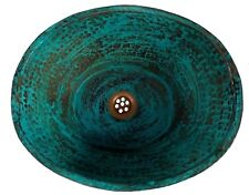 Green Distressed Aged Patina Copper Oval Vessel Bathroom Sink Toilet Basin