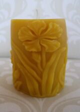 Handmade 100% Beeswax Candle - Iris Flower Pillar