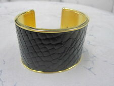 St John Knit NWOT Gold Black Print Bracelet Cuff Crocodile Print