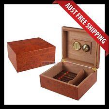 Burnside Cigar Humidor, 50+ Cedar Wooden Cigar Box Case, Brown Col, w Humidifier