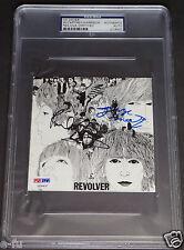 PAUL McCARTNEY GEORGE MARTIN Signed Beatles REVOLVER PSA/DNA Slabbed w/ Harrison