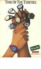 """PUBLICITE 1988   BENETTON by BULOVA """" TIME of The Thirties"""" montres"""