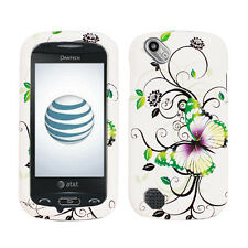 PANTECH LASER P9050 AT&T RUBBERIZED COATING HARD CASE GREEN FLOWER