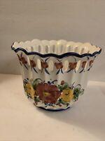 "Vintage Vestal Porta Planter, Bowl Portugal Hand Painted Floral Ceramic 6"" Tall"