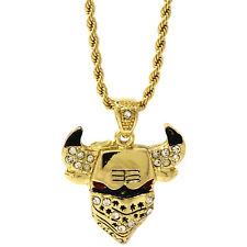 """Pendant 30"""" Rope Chain Necklace D931 Mens Gold Plated Iced Masked Bull Hip-Hop"""