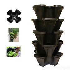 Large 5 Tier Vertical Garden Tower Stackable Plant Pot Black Indoor Outdoor Use