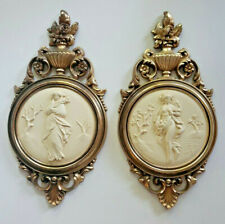 PAIR VINTAGE GRECIAN ROMAN LADIES WALL PLAQUES GOLD & CAMEO STYLE 4056 SYROCO