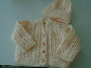 New Hand Knitted Peach Cardigan and Hat 6/12 months