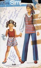 Simplicity 9294 Child Girls Top or Tunic, Scooter Skirt & Pants Size 4 Vtg 1971