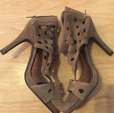 STEVE MADDEN Shoes HEELS BOOTIE Suede Pumps P-CENSI SZ 9 1/2 CUT-OUT TAN
