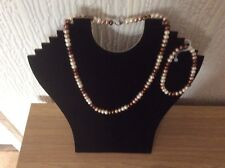 Honora necklace and bracelet set brown/cream/white