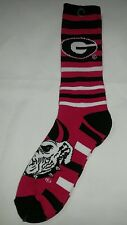 Georgia Bulldogs Adult Striped Crew Socks Red Black White Logo Top of Foot