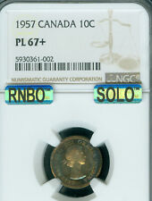 1957 CANADA 10 CENTS NGC PL67+ MAC SOLO FINEST REGISTRY RNBO RAINBOW  *