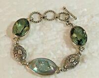 "Art Deco Styled Solid Sterling Silver Druzy green Stone 7.5 in. "" Bracelet 925"