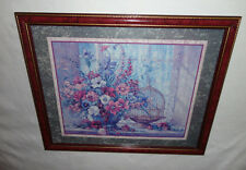 Home Interiors Large ''Pinks & Blue Flowers& Bird Cage ''Picture  Gorgeous