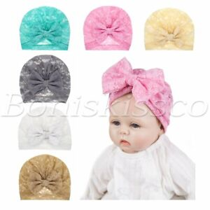 6pcs Soft Newborn Baby Lace Bow Knot Hats Headbands Headwraps Turban Boys Girls