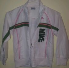 Nike Girls White pink green Spellout zip Windbreaker Athletic Jacket Small 6x