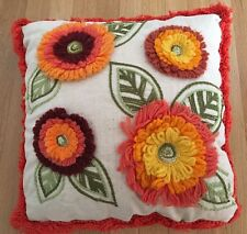 vtg retro Crewel THROW PILLOW 60s 70s floral fringed orange floral groovy kitsch