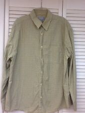 Men's LS button up plaid yellow cream, Size Large, Old Navy, Mint