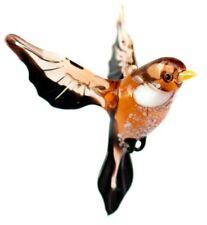 Sparrow Glass Figurine, Blown Glass Art, Amber and Yellow Bird Ornament