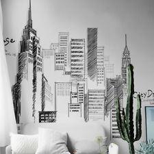 Black Large Tall City Buildings Wall Sticker DIY Mural Art for Living Room Decal