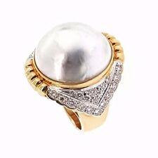 Estate 19mm White Mabe Pearl & Diamond Ring in 18k Yellow Gold - HM1713