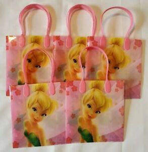5 PCS Disney TinkerBell Goodie Party Favor Gift Birthday Loot Bags Pink