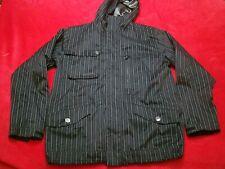 Burton Dryride Mens Black Pin Striped Hooded Ski Snowboard Jacket Coat XL
