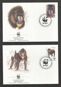 Guinea-Ecuatorial WWF Monkey Mandrill / Singe Mandrill on 4 beautiful FDC