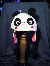 Wonderkids Panda Head Knit Hat w/ Ear Flaps Tassels Cotton Blend 1 Size New