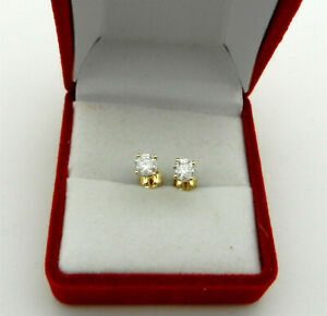 Solitaire Stud Earrings 0.66 tcw White Color Natural Diamonds 14K Yellow Gold