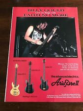 1990 VINTAGE 8X11 PRINT Ad BILLY GOULD ON STAGE FAITH NO MORE ARIA PRO II GUITAR