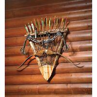 Rush Creek Log Wooden Hunting Archery Gear Bow & Arrow Wall Rack Storage Display