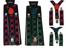 Adult Children Kid Boy Braces suspender Scotland Tartan Fancy Dress UK