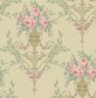 Neoclassical Floral Wallpaper Gold Pink Cream Green in Victorian Arts and Crafts