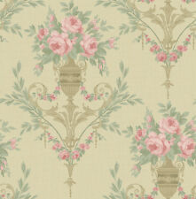 Floral Wallpaper Gold Pink Cream Green Victorian Damask Samples Available