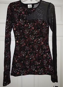 Body Wrappers Dance Glitter CutOut Asymmetrical Pull Over Top Adult M T3983