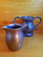 Vintage Pewter Cream Pitcher And Sugar Caddy Set
