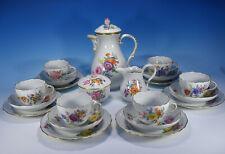 """Meissen """" Flower Bouquet """" Coffee Service for 6 People 1.Wahl"""