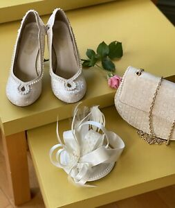 Ladies RUBY SHOO shoes.bag and wedding hat, shoes size 5.ivory colour
