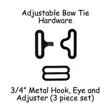 "100 Sets Adjustable Bow Tie / Necktie Hardware* Clips - 3/4"" (19mm) Black Metal"