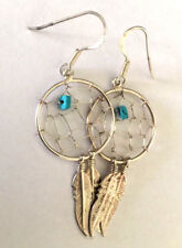 Bead Feather Dream Catcher Earrings Native American Sterling .925 Turquoise