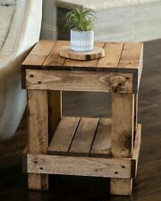 Rustic Farmhouse Side Table Solid Wood Lamp Decor Display Storage Stand Brown