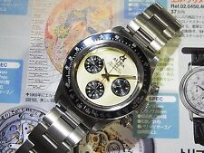 Alpha Daytona Paul Newman Black Insert Chronograph Watch On Rivet Bracelet