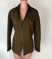 Carlisle Womens Sweater Jacket Brown Gray Wool Cashmere Angora Blend Size 0