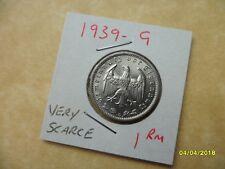 German 1 ReichsMark 1939-G Very Scarce Third Reich Nickel Coin WW2 Mark